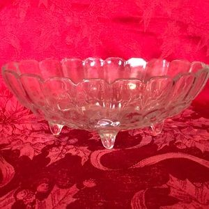 Vintage Indiana Glass Footed bowl, oval